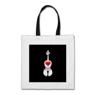 black violin tote with heart